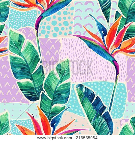 Watercolor tropical flowers on geometric background with doodles. Hand drawn bird-of-paradise flower with leaves on scribble textures in patchwork style. Watercolour art illustration