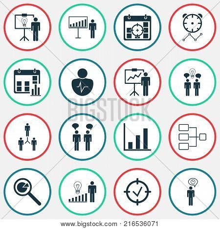 Authority icons set with special demonstration, project presentation, bar chart and other bar chart elements. Isolated vector illustration authority icons.
