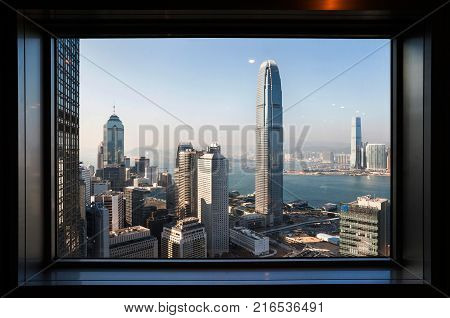 CENTRAL HONG KONG - JAN 15 2014 - View of IFC Two from the Bank of China Tower observation deck