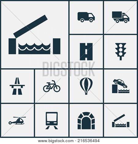 Transport icons set with chopper, stoplight, subway and other opening bridge ahead elements. Isolated vector illustration transport icons.