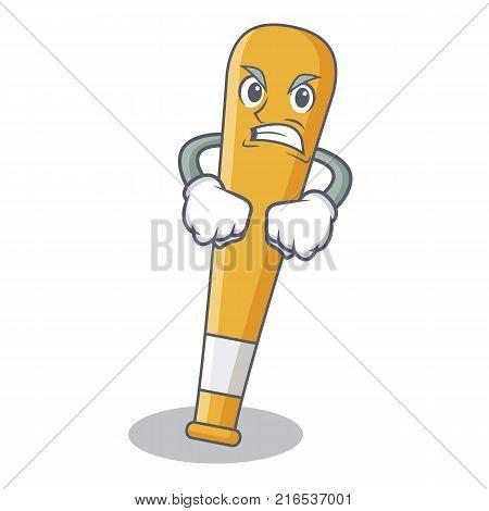 Angry baseball bat character cartoon vector illustration