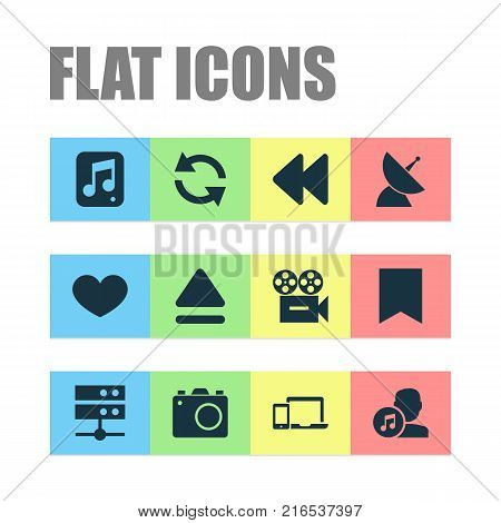 Multimedia icons set with file, satellite, camera and other flag elements. Isolated vector illustration multimedia icons.