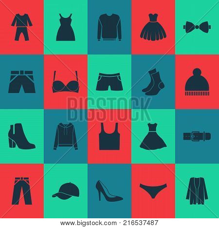 Garment icons set with panties, half-hose, female winter shoes and other jumper elements. Isolated vector illustration garment icons.