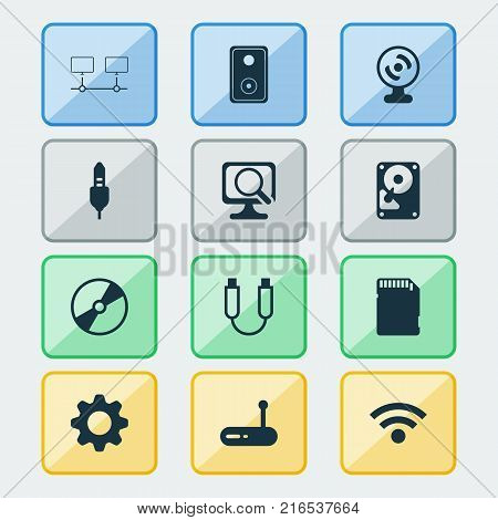 Computer icons set with web camera, memory card, router and other aux cord elements. Isolated vector illustration computer icons.