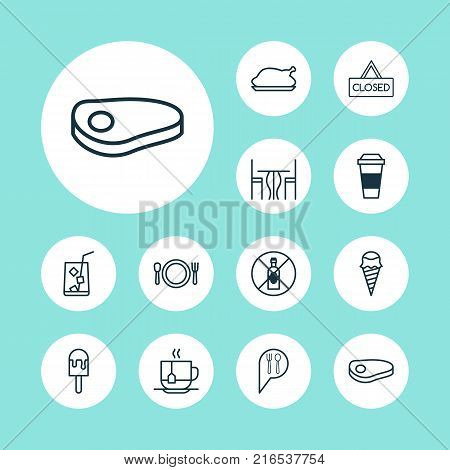 Restaurant icons set with dining room, steak, sorbet and other steak elements. Isolated vector illustration restaurant icons.