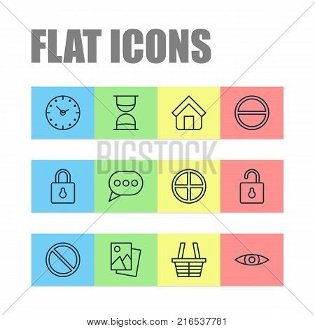Internet icons set with safeguard, refuse, estate and other landscape photo elements. Isolated vector illustration internet icons.