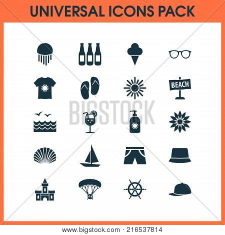 Sun icons set with spectacles, sunny, medusa and other sunhat elements. Isolated vector illustration sun icons.