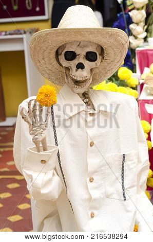 OAXACA, OAXACA, MEXICO- NOVEMBER 1, 2017: Skull dressed with traditional clothes as decoration for mexican Day of the Dead at a store in Oaxaca, Mexico