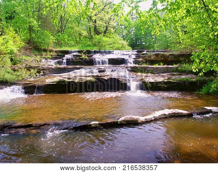 Skillet Creek Falls on a beautiful spring day in Wisconsin
