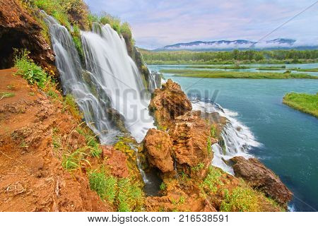 Fall Creek Falls flows into the Snake River in the Caribou National Forest of Idaho