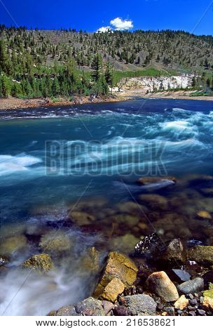 Yellowstone River Cascade in Wyoming, United States