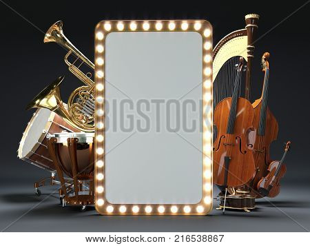 Orchestra musical instruments white. High quality 3d render