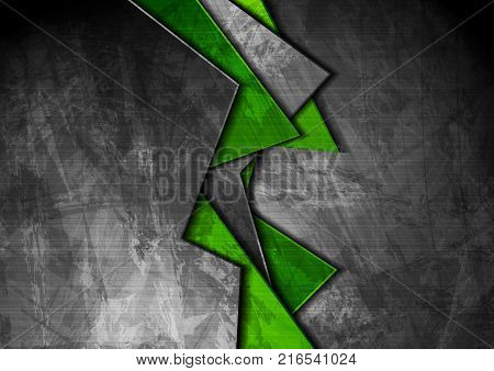 Grunge tech material contrast green and dark grey corporate texture background. Vector illustration