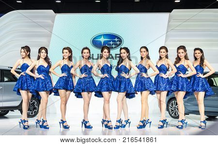BANGKOK - DECEMBER 1 : Unidentified models of Subaru on the stage show with cars at Thailand International Motor Expo 2015 on December 1 2015 in Bangkok Thailand.