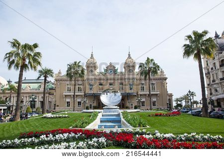 MONTE CARLO MONACO ON MARCH 18 : The elegant casino of high rollers Monte Carlo casino by Spring in the month of March in Monaco 18 2017.