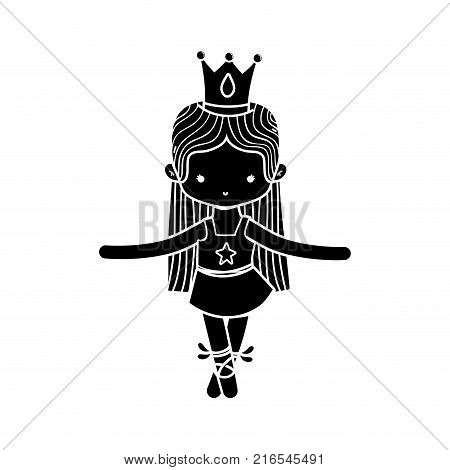 contour girl practice ballet with profesional clothes and straight hair vector illustration