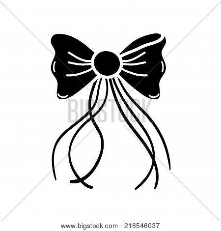 contour ribbon bow with slats decoration design vector illustration