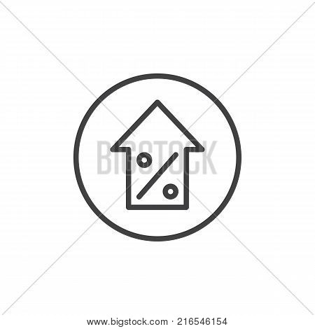 Percentage symbol with an arrow up line icon, outline vector sign, linear style pictogram isolated on white. Increasing percentage symbol, logo illustration. Editable stroke