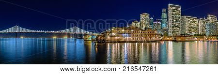 San Francisco Belle And Downtown At Chrismas From Wooden Pier 7 At Sunset.