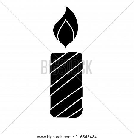 contour candle fire flame to christmas decoration vector illustration