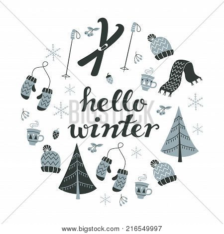 Hello Winter Text and Winter Background with Hand Drawn Winter Elements. Set of Lettering and Winter Elements: Skis, Mittens, Hat, Christmas Tree and Snowflakes.