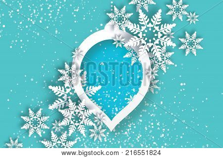 Snowfall. Origami Happy New Year Greetings card. Merry Christmas. White Paper cut snow flake. Winter snowflakes. Circle speech bubble bauble frame. Text. Holidays. Grey background. Vector