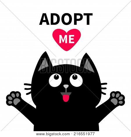 Adopt me Dont buy. Red heart Black cat face head tongue paw print silhouette looking up. Cute cartoon character. Help animal Pet adoption Flat design White background. Isolated Vector illustration