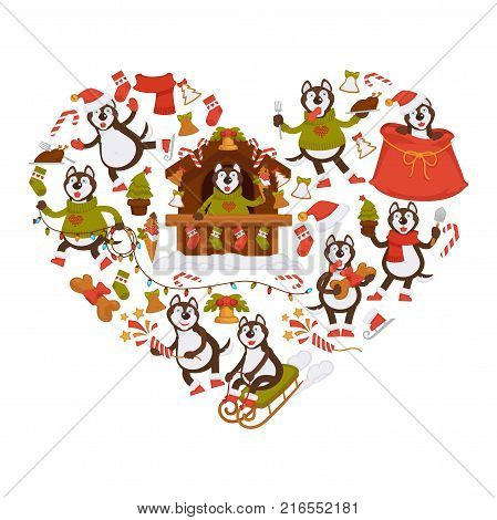Husky dog in knitted sweater and Christmas attributes such as house with sweet canes, bag for presents, winter sledge and festive decorations in heart shape isolated cartoon flat vector illustration.