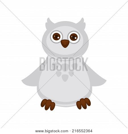 Owl baby with big brown eyes, white plumage, sharp beak, tenacious paws, small wings, spots on chest and two forelocks isolated cartoon flat vector illustration. Adorable bird with unusual color.