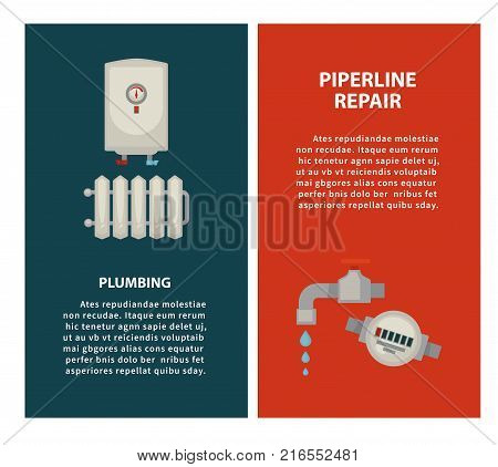 Plumbing and piperline repair vertical promotional posters with modern water heater, solid radiator, tap that leaks and water meter isolated cartoon flat vector illustration on white background.