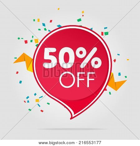 Sale tag isolated price offer vector illustration. Discount offer price label, symbol for advertising campaign in retail, sale promo marketing, fifty percent off discount sticker, ad offer on shopping day