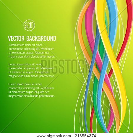 Abstract bright geometric template with text and colorful interweaving ribbons on green background vector illustration