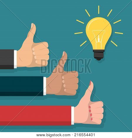 Great idea, Thumb up symbol flat style, Cheering businessmen Hands show finger Like sign. Lightbulb innovative solution, business, creative idea concept. Vector