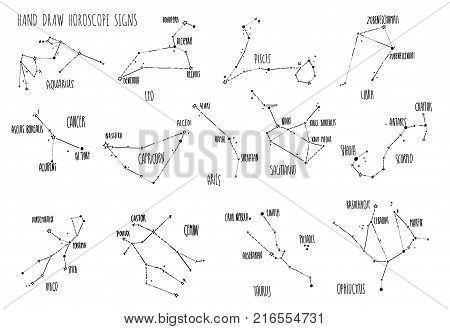 Hand draw Horoscope constellations, all Zodiac signs with line and dots with name of main stars. Collection of sketched zodiac constellation, thirteen of minimalistic elements, stars constellations set, doodle vector illustration