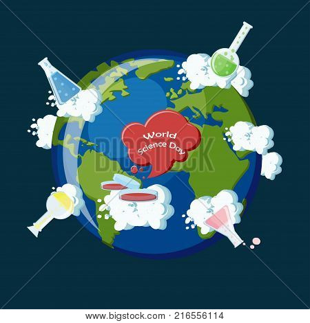 The World Science day concept. The planet earth with clouds and widespread chemical flasks symbolizing science around the globe. Vector illustration in flat style, suitable for cards, posters, banners.