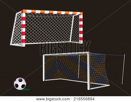 Soccer goal with different design of the posts and nets.