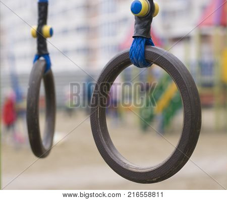 Sports projectile rings on a street playground