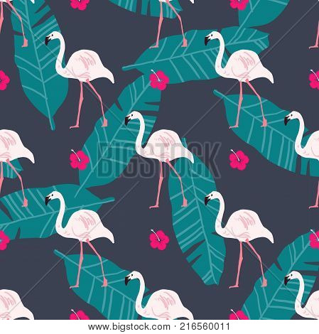 Tropical trendy seamless pattern with pink flamingo, pineapples, tropical palm and banana leafs. Beach background. Tropical paradise