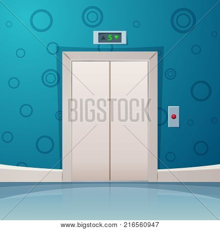 Cartoon elevator with red button. Vector eps10