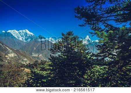 Highest mountain in the world. Panoramic view of Himalaya mountain. Way to Everest base camp, Khumbu valley, Sagarmatha national park.
