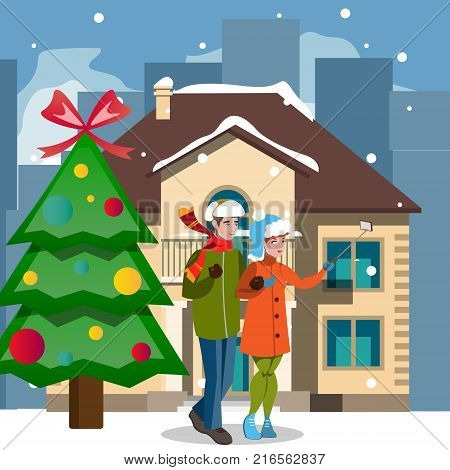 Christmas houses and people. Flat design vector illustration