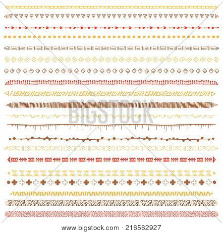 Hand-drawn ethnic brushes set. Artistic vector collection of design elements tribal geometric ornament. Pattern brushes with conors and tails are included in EPS file