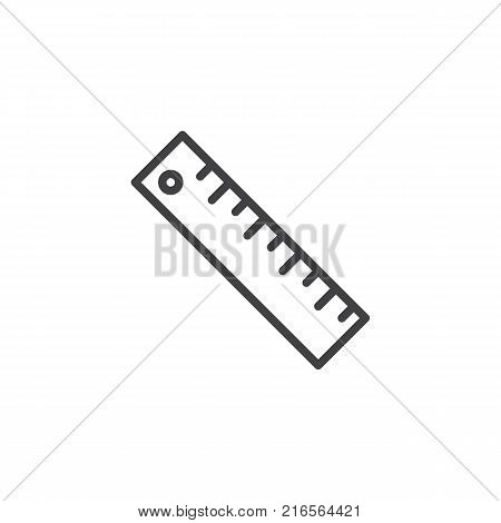 Measuring ruler line icon, outline vector sign, linear style pictogram isolated on white. Symbol, logo illustration. Editable stroke
