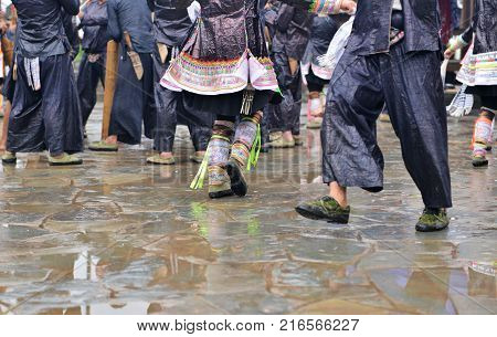 Peolple from different tribes in China dressed in traditional costumes, the miao tribe, dong tribe, gejia people, cormorant fishermen