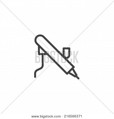 Paint airbrush tool line icon, outline vector sign, linear style pictogram isolated on white. Symbol, logo illustration. Editable stroke