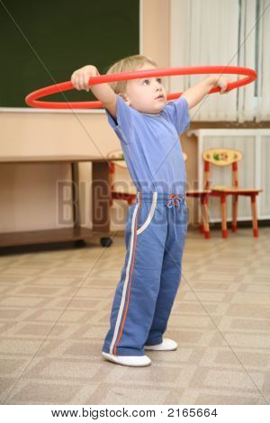 Girl Plays With Hoop