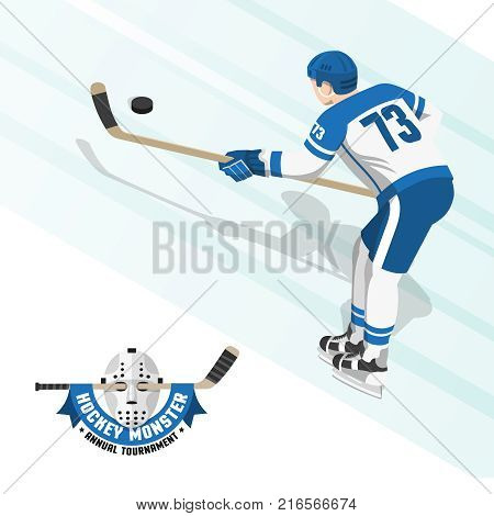 Ice hockey player in a white blue uniform view from the back. Flat logo with a retro goalkeeper's mask and stick.