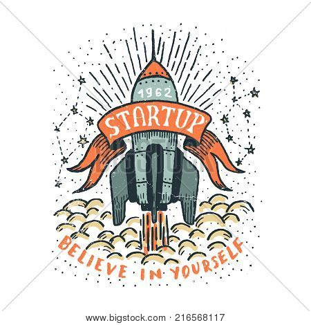 Startup doodle hand-drawn illustration with a flying rocket ribbon and inscriptions. Grunge textures on separate layer and can be easily disabled.