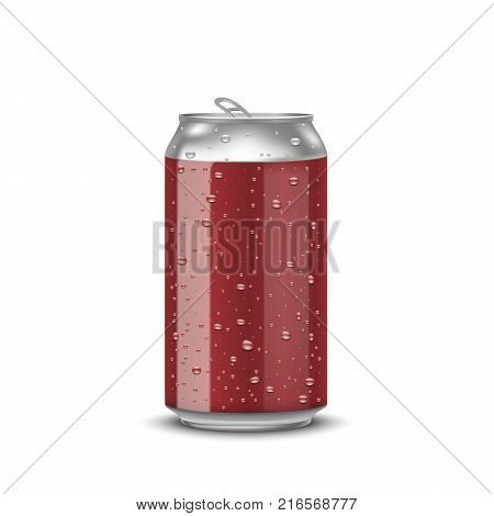 Realistic red aluminum cans with water drops on white background