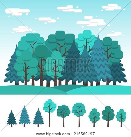 Set of deciduous and coniferous trees for design of landscape. Summer forest. Flat clipart.